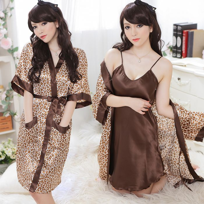 Sexy ropa de dormir de seda del faux café de leopardo de impresión albornoz espaguetis correa 2pcs/set ropa de dormir sexy ropa interior para mujeres