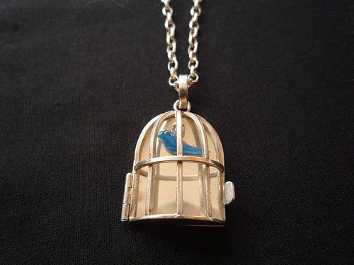 Bird Cage Pendant Sterling Silver, Enamel, Chain (sterling silver) 80cm
