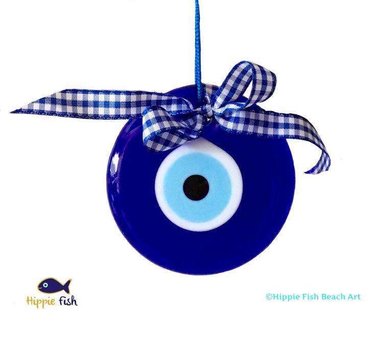 "Blue glass Evil Eye, Evil Eye Charm, talisman, medium evil eye, Mati, amulet, nazar, 3"" evil eye, wall hanging, lucky charm, good luck charm by hippiefishbeachart on Etsy"