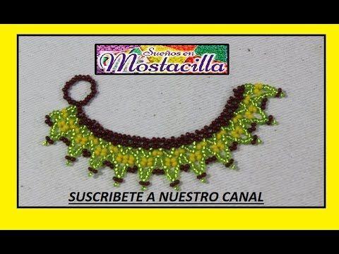 COMO HACER COLLAR EN MOSTACILLA CON FLORES - YouTube