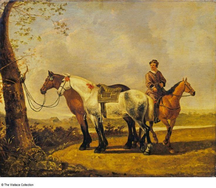 Calraet, Abraham van - Horses tied to a Tree Horses tied to a Tree. Собрание Уоллес , Лондон, Великобритания