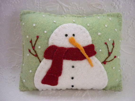Felt Snowman Pillow Primitive Wool Applique Decoration Penny Rug ...