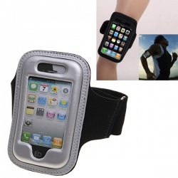 EVA Material Sports Adjustable Strip Armband Pouch Case for iPhone 4 4S (Silver)