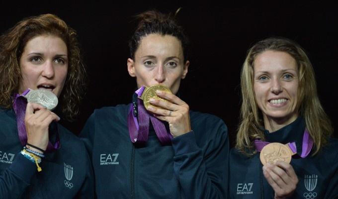 London 2012 - Arianna Errigo (Argento), Elisa Di Francisca (Oro) e Valentina Vezzali (Bronzo) (Fioretto)