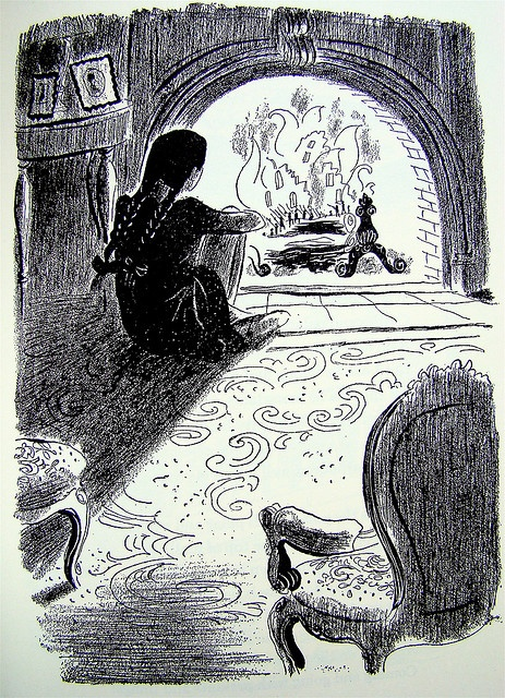 """Fire    From """"A Child's Garden of Verses"""" by Robert Louis Stevenson, 1944 edition illustrated by Roger Duvoisin."""