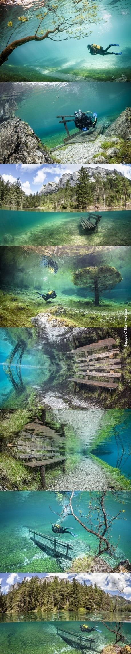 Under water park - Grüner See (Green Lake), located near the town of Tragoss in the Hochschwab mountains of Austria