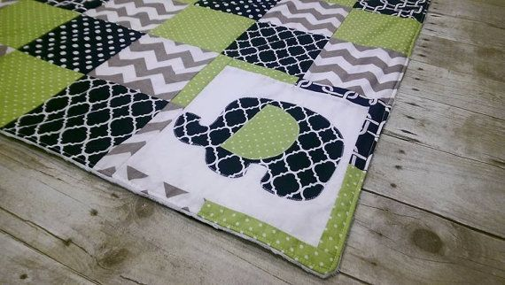 Baby boy patchwork minky blanket  navy green by CassisBabyCakes