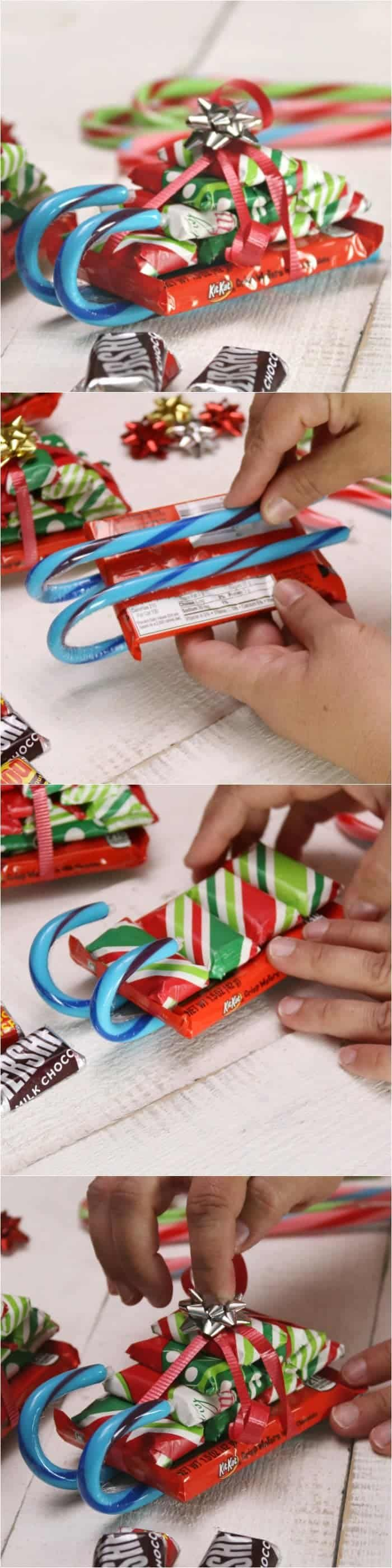 How to Make Candy Cane Sleighs with Candy Bars for Christmas! These make the best DIY Christmas gifts! Perfect for teachers, friends and family! #DIYgift #holidaygift #christmasgift #howtomake #DIY #candybars #candycane