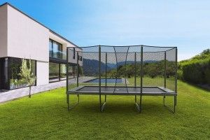 Check out this super-resistant rectangular trampoline with safety netting!  http://trampolineparadise.com/trampolines-for-sale/