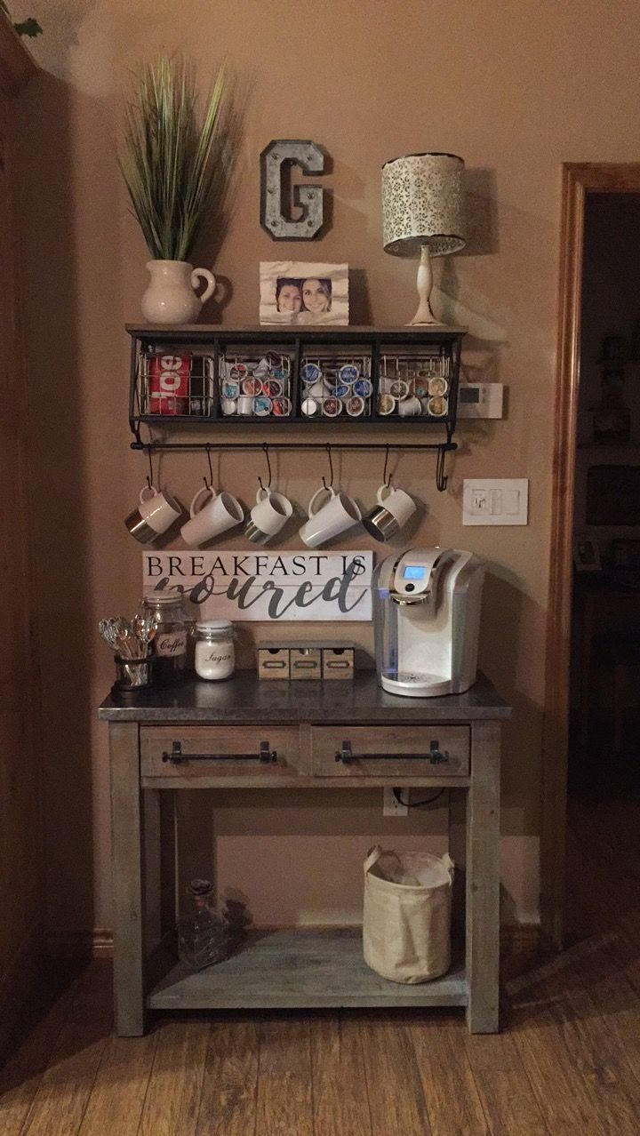 Rustic coffee station #Coffee (Coffee bar ideas) Tags: Rustic coffee station ideas, Rustic coffee station kitchens, Small coffee station #Wood #officecoffe