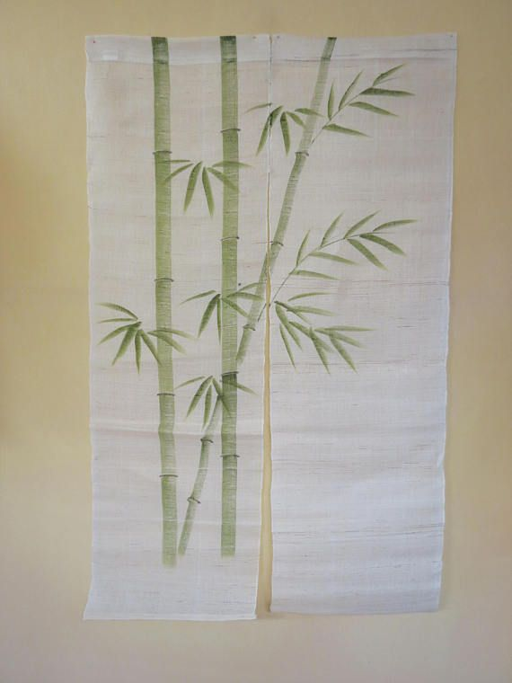 NOREN CURTAIN HEMP Japanese Vintage Noren Green Bamboo Curtain