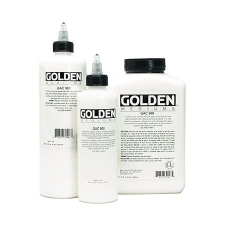 Golden Acrylic Paint Medium GAC900 turns any acrylic paint into a fabric paint which can be brushed, airbrushed, or screen-printed onto fabric. It leaves the fabric soft and, if heat set, can be washed as normal. Available at art stores.