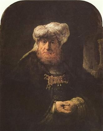 """Rembrandt van Rijn """"Man in Oriental Costume (a.k.a. The King Uzziah Stricken with Leprosy)"""", 1639 oil on panel, 102.8 x 78.8 cm. Duke of Devonshire Collection, Chatsworth A famous work by the Dutch master, and one of the jewels of Chatsworth house's art collection. The identification of the man in the painting has been discussed for decades. $60-90 million"""