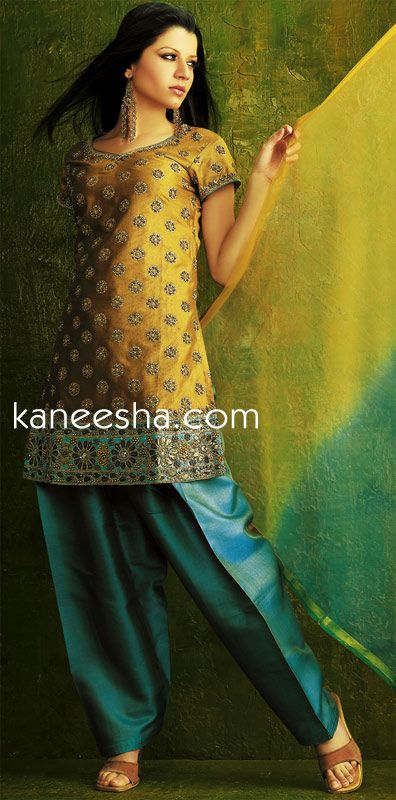Mustard Yellow/Turquoise Silk Salwar Kurta Dress