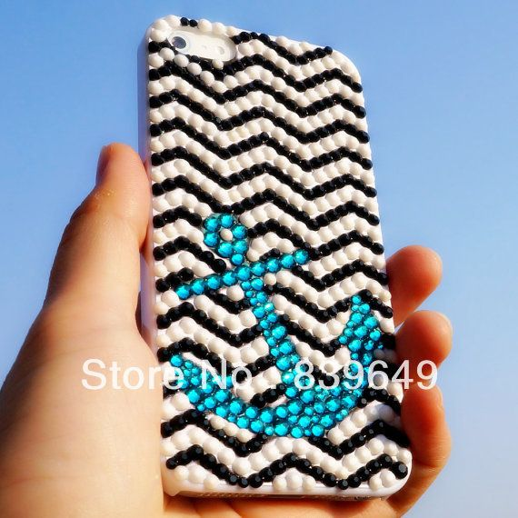 Free shipping Handmade Bling sparkle diamond crystal Rhinestone case cover for iPhone 4 4s fashion strips ocean ship girl lady US $16.99