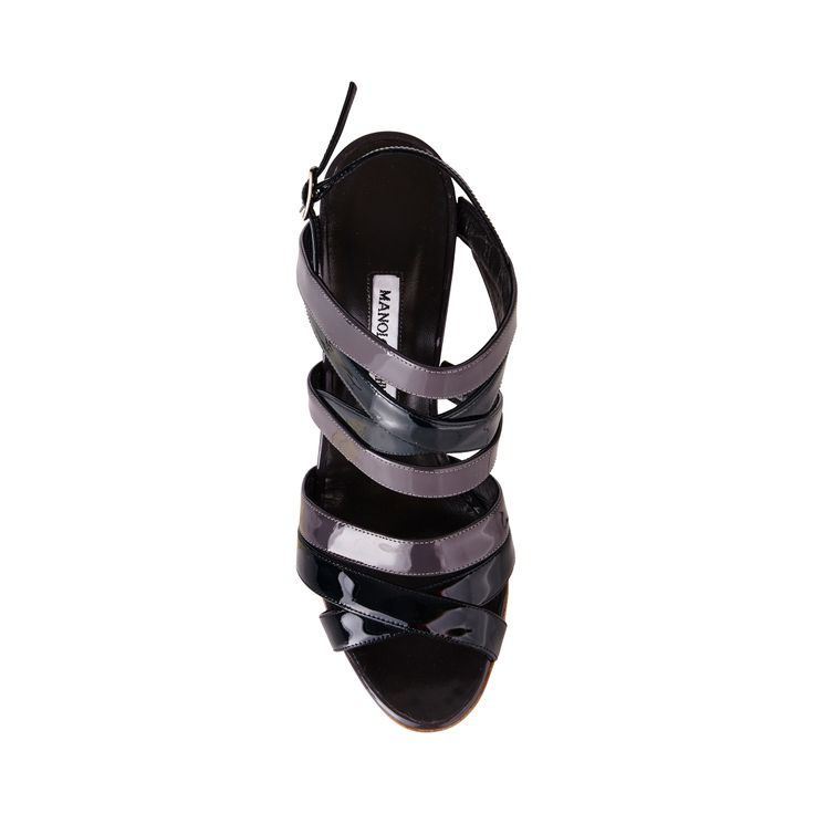 Manolo Blahnik Mimkemalany Bicolor Patent Leather Sandal Green/Grey - For a meticulously crafted silhouette, look no further than this strappy two-tone Manolo Blahnik design; Mimkemalany Bicolor Sandals in patent leather.