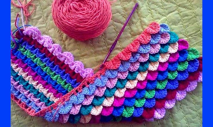 Punto Cocodrilo Tejido a Crochet com moldes y Video Tutorial