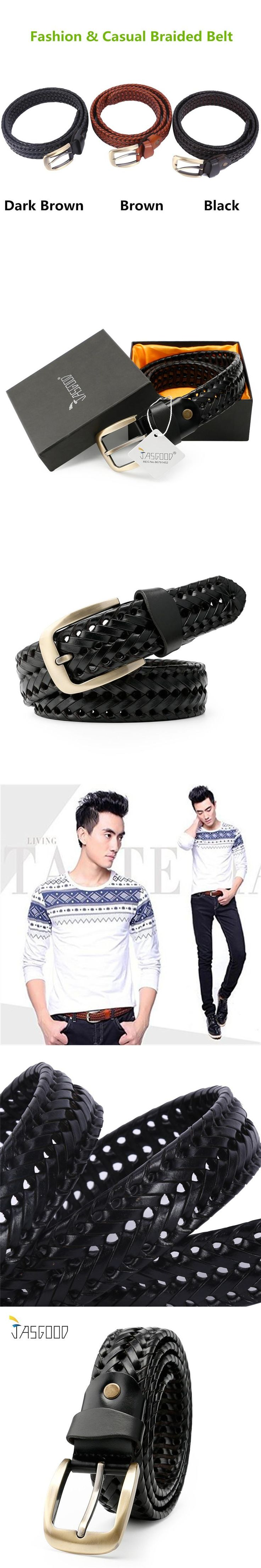 JASGOOD Braided Leather Belt For Men Woven Full Grain Leather Casual Belt For Jeans With Brass Finish Buckle Cinto