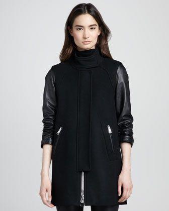 Leather-Sleeve Zip Swing Coat at CUSP.