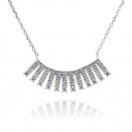 Stříbrný náhrdelník s desítkami zirkonů