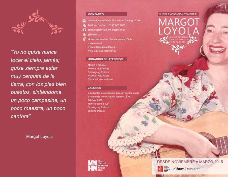 """Folleto de la exposición """"Un poco campesina, un poco maestra, un poco cantora"""", sobre Margot Loyola"""