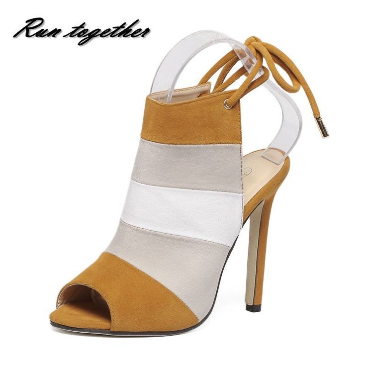 New summer women high heels sandals shoes woman pumps party wedding peep toe ankle strap stripe thin heels shoes flock leather
