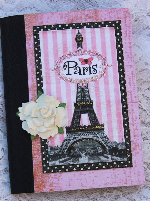 Eiffel Tower Paris Journal Notebook Altered Gift by Hugs4theHeart