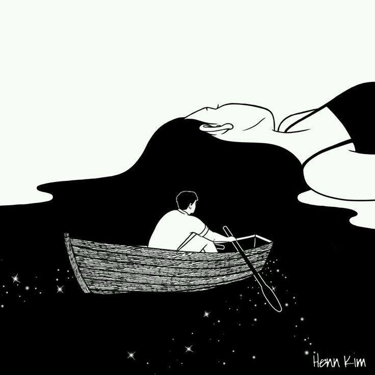 sailing  her long hair tasting a black ice cream