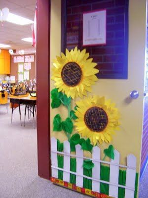 Love the sunflowers as you enter the classroom.