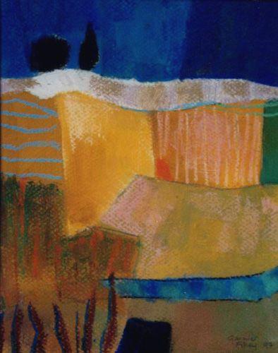 Pastel, paysages aux deux champs jaunes