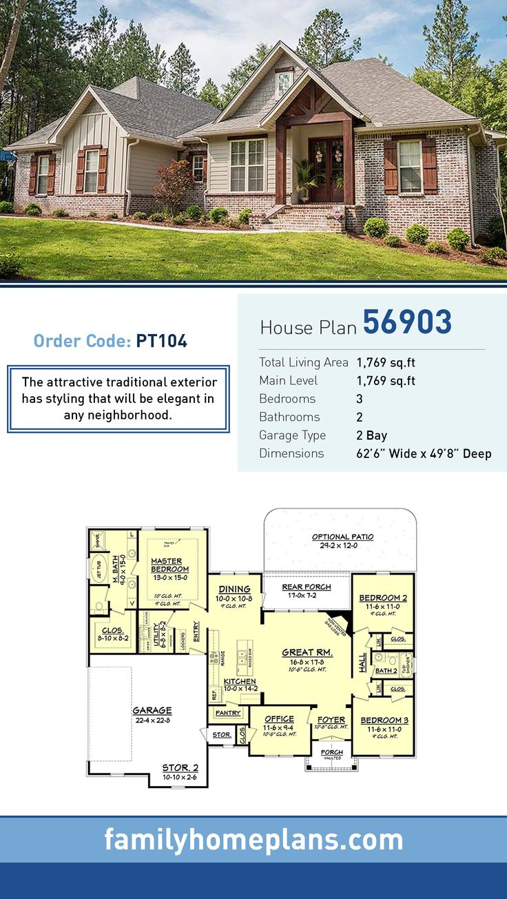 Craftsman House Plan 56903 | Total Living Area: 1,769 SQ FT, 3 bedrooms and