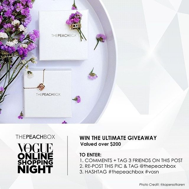 DON'T MISS OUT on Vogue Online Shopping Night (VOSN) Ultimate Giveaway Competition valued over AUD$200!! Look for the original post to enter!! Competition ends 11.59PM Tue 27 Oct 2015! @thepeachbox #thepeachbox #vosn #vosn2015