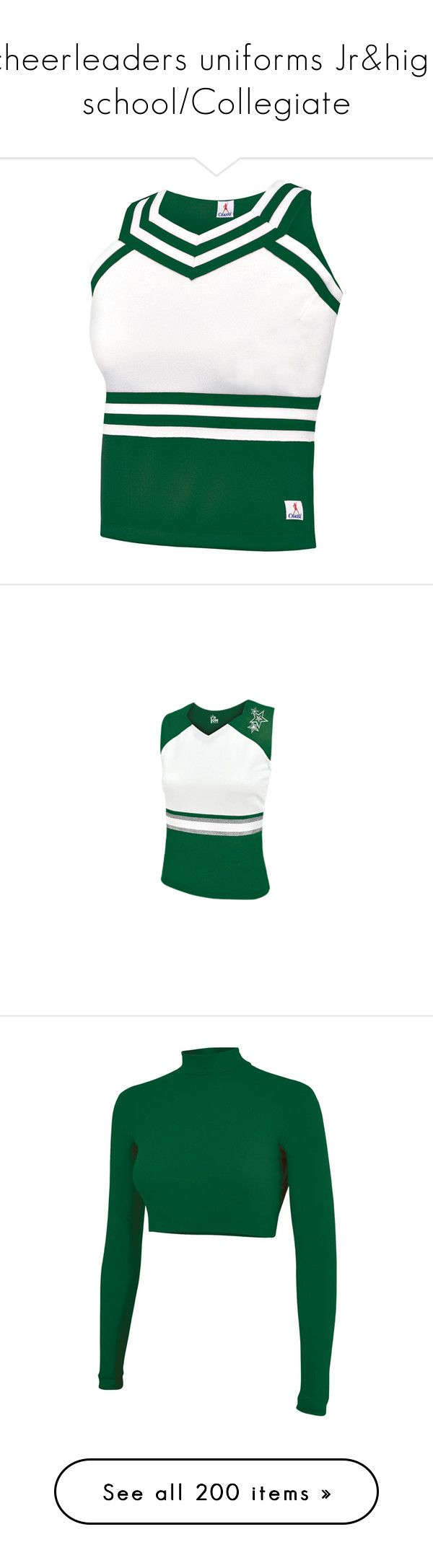 """""""cheerleaders uniforms Jr&high school/Collegiate"""" by stephaniedsmigo ❤ liked on Polyvore featuring tops, white top, white sweetheart top, sports tops, white shell top, sweetheart neck top, activewear, activewear jackets, skirts and knee length pleated skirt"""