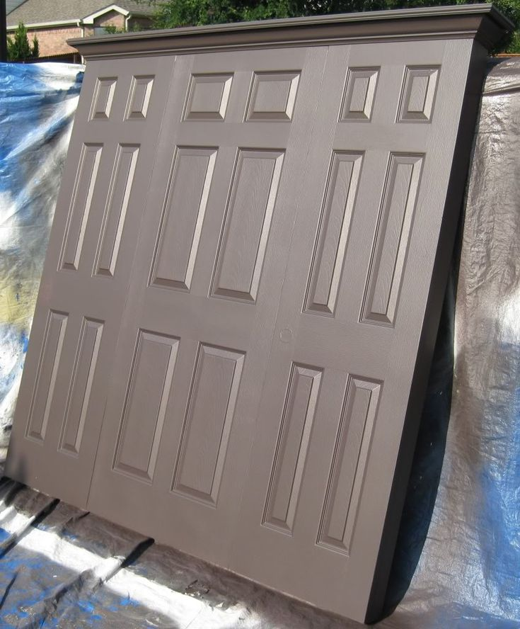 King size headboard made from three doors painted satin espresso by Vintage Headboards