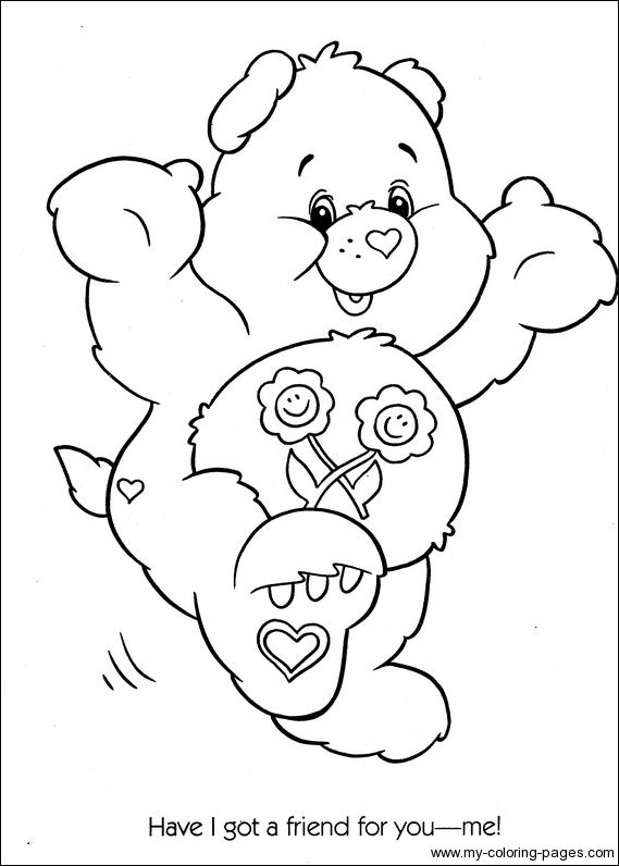 care bears coloring pages birthday bear beanie   Care Bears Coloring-086   Crafty (80's Care Bears ...