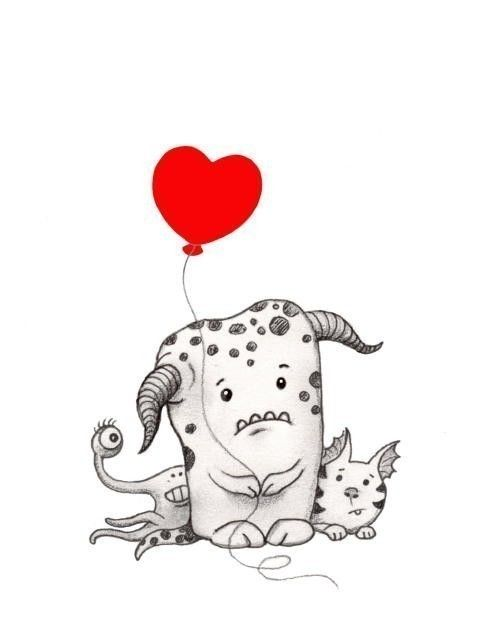 Love Monster Print Red Balloon Heart Art by SepiaLepus on Etsy, $17.00