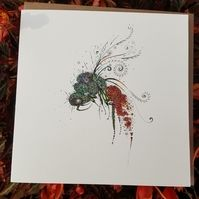 Ruby Tailed wasp by Doodleicious Art #wasp #flowers #artwork #insect #greetingcard