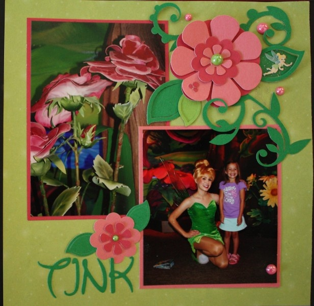 Tink - Disney Scrapbook Layout  We didn't meet Tink, but I will get more characters next visit.