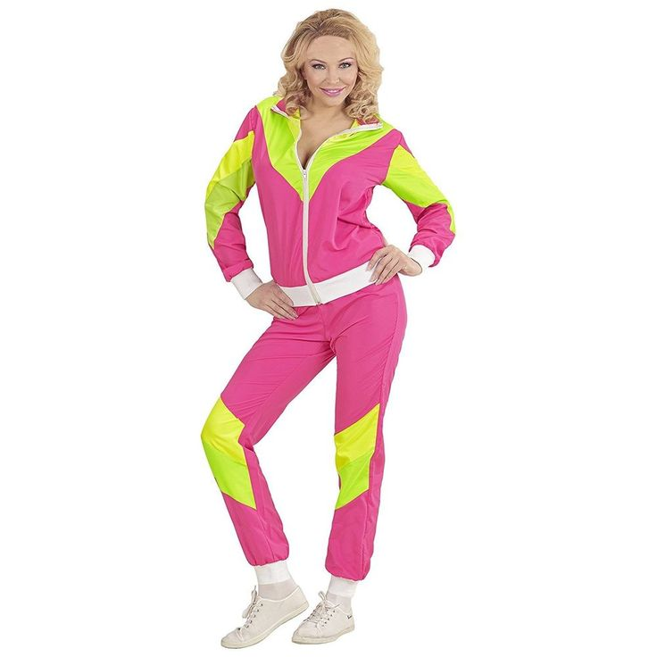 Pink 1980s Tracksuit - Adult Fancy Dress Costume - Medium - 10-12
