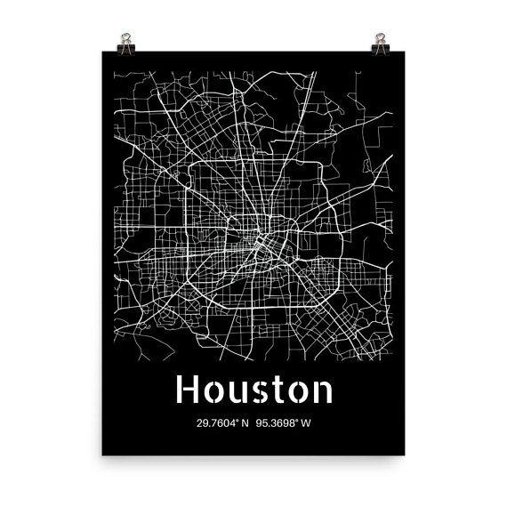 Houston Map Wall Art Print Houston Poster City Map From Hildalea On Etsy Vintage Map Wallart Gift Houston Tex Houston Map Map Wall Art Wall Art Prints