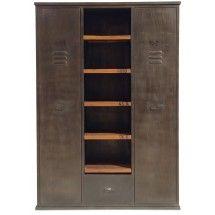 Armoire 2 portes vintage industriel metal et bois armoire chambre adulte - Armoire chambre bois ...