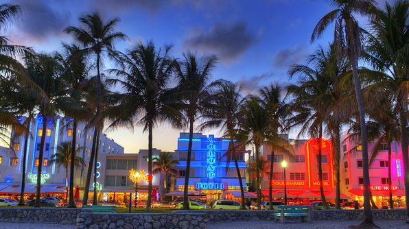 South Beach, Florida - Cruise along Ocean Drive in Miami to see these candy-colored Art Deco buildings.