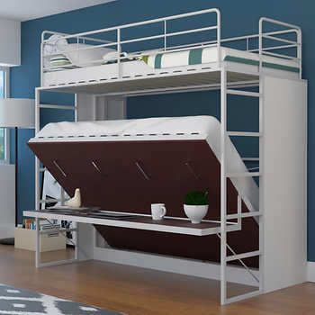 Jessie Twin Over Full Landscape Bunk Bed With Desk Red