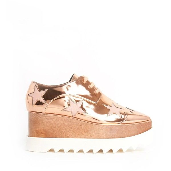 Stella Mccartney 'Elyse' Laced Sneaker With Platform and White Stars (4,855 GTQ) ❤ liked on Polyvore featuring shoes, sneakers, white wedge sneakers, white trainers, white lace up sneakers, white shoes and wedge sneakers