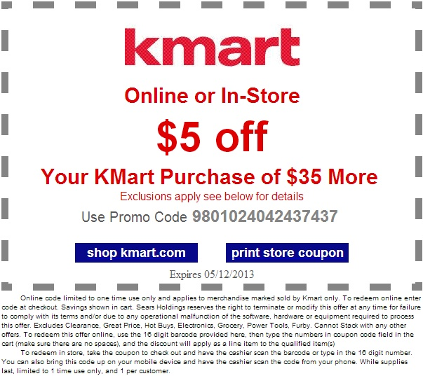 Save $5 OFF of $35 with this Kmart Printable Coupon