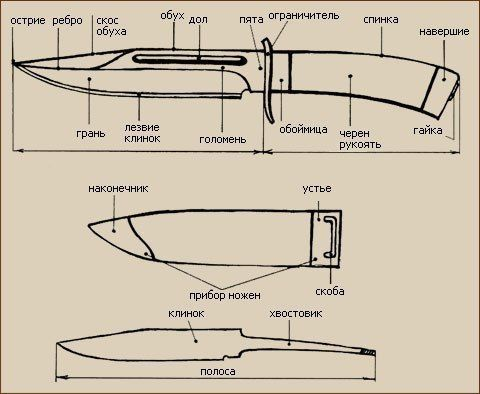 Подробное описание строения ножа.  Несмотря на то, что ножи имеют огромное разнообразие форм и видов, все ножи относятся к коротко клинковому оружию, и хотя все большую популярность приобретают складные и метательные ножи, все же их строение остается неизменным на протяжении сотен лет. Давайте разберем с вами, из чего состоит нож.  Нож это специально обработанная полоска металла. Итак, основной элемент, из которого состоит нож – клинок в соединении с хвостовиком. Клинки ножей могут быть…