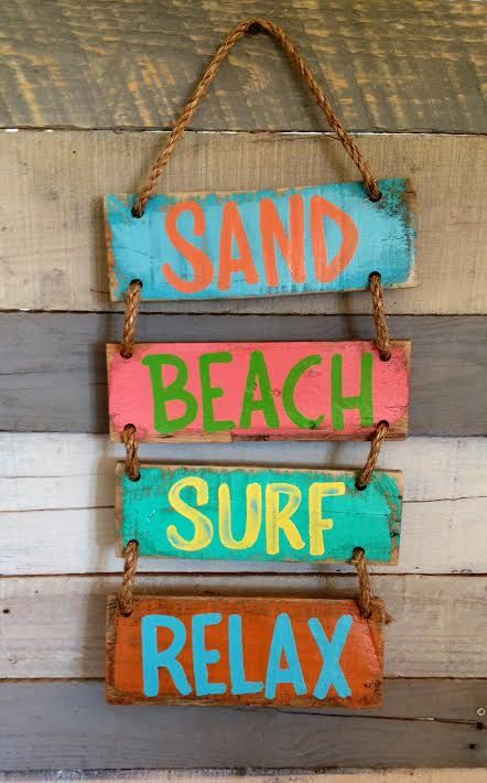 Sand Beach Surf Relax Hanging Rope Sign  This rustic sign is perfect for your beach themed home. Sign measures approximately 8 x 16 inches. A