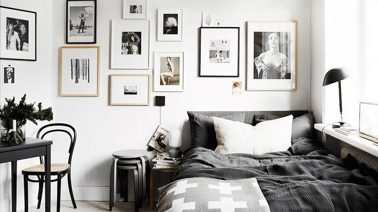 Black and white simple room decor.