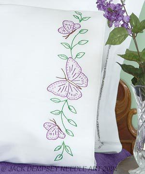 Butterflies Perle Edge Pillowcases - Embroidery Kit