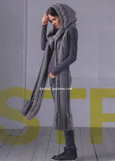 Hooded scarf - free knit pattern